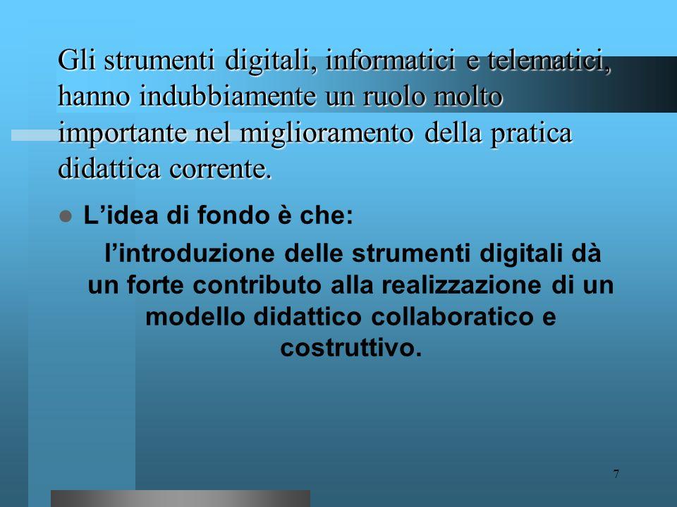 Gli strumenti digitali, informatici e telematici, hanno indubbiamente un ruolo molto importante nel miglioramento della pratica didattica corrente.