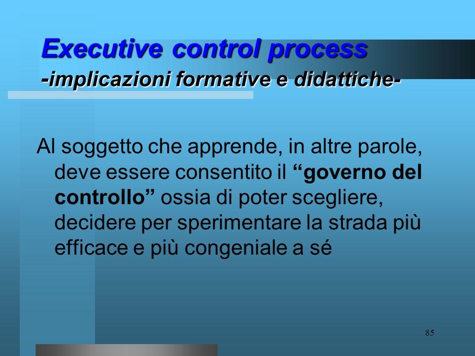 Executive control process -implicazioni formative e didattiche-