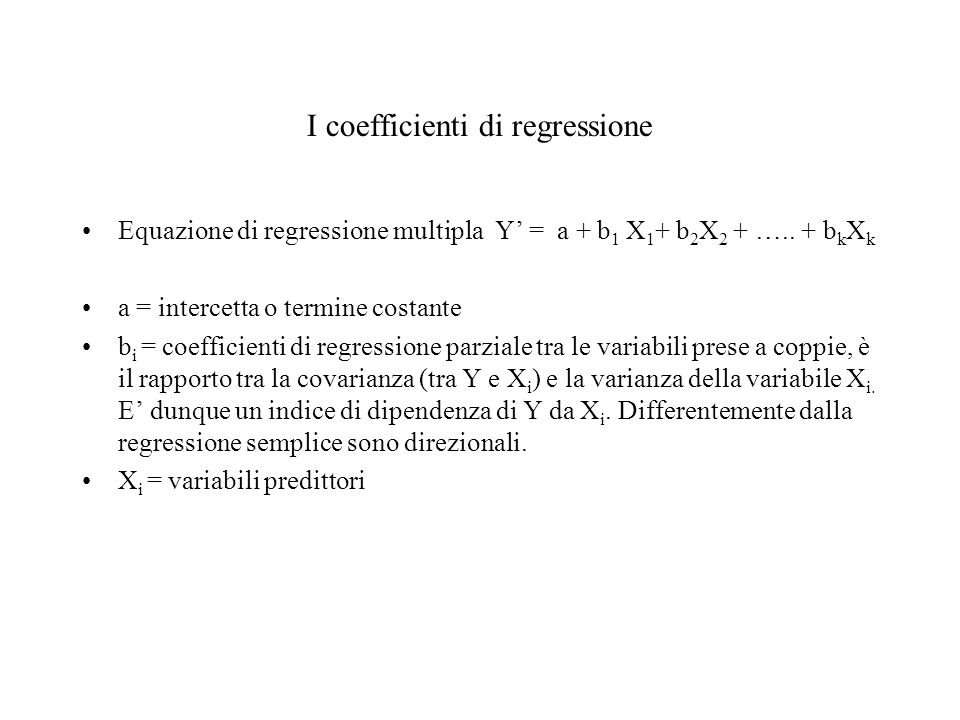 I coefficienti di regressione