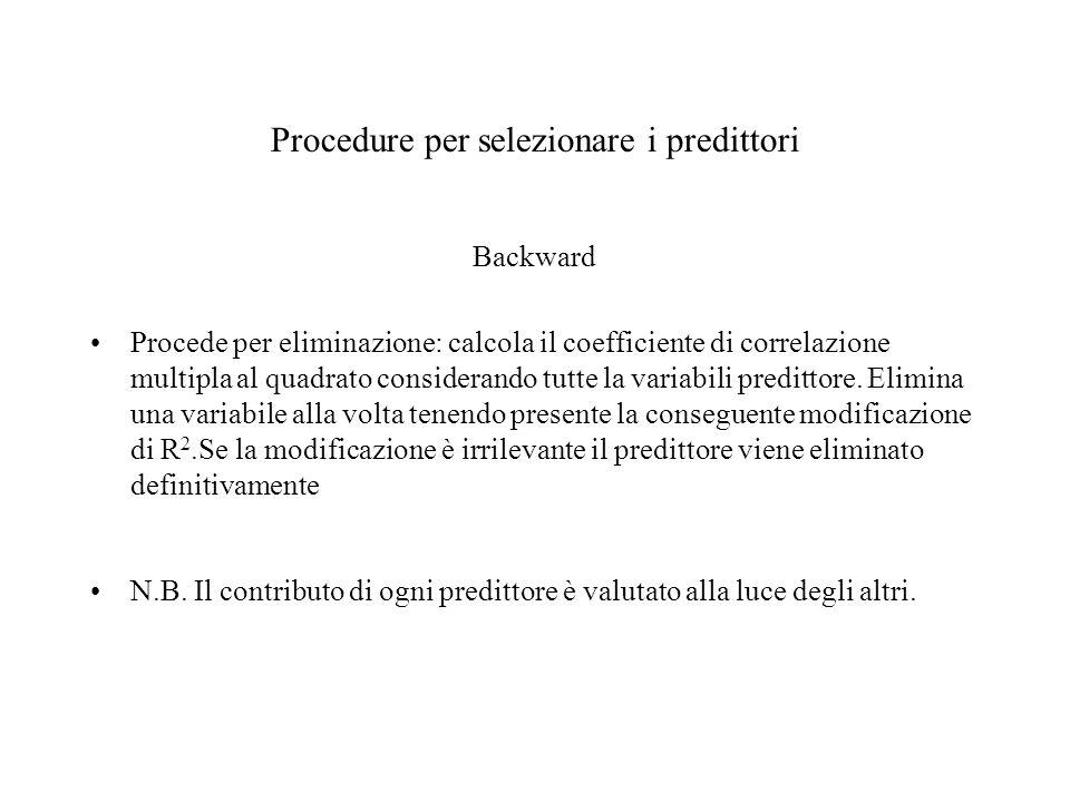 Procedure per selezionare i predittori