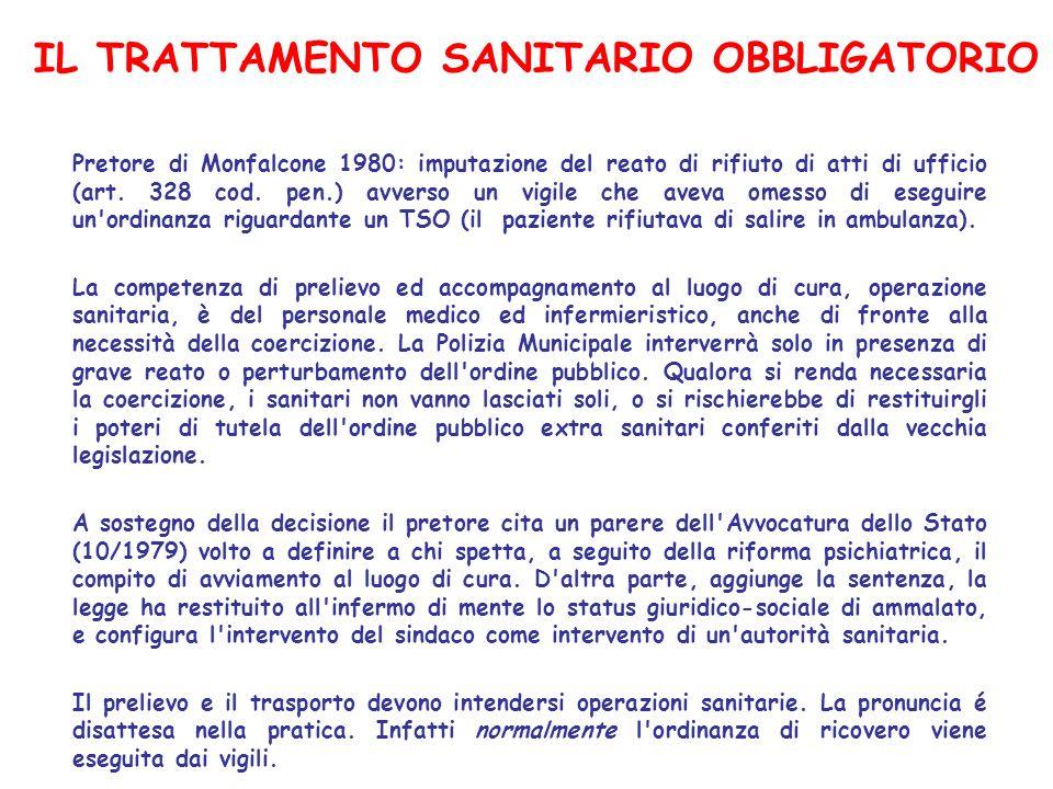 IL TRATTAMENTO SANITARIO OBBLIGATORIO