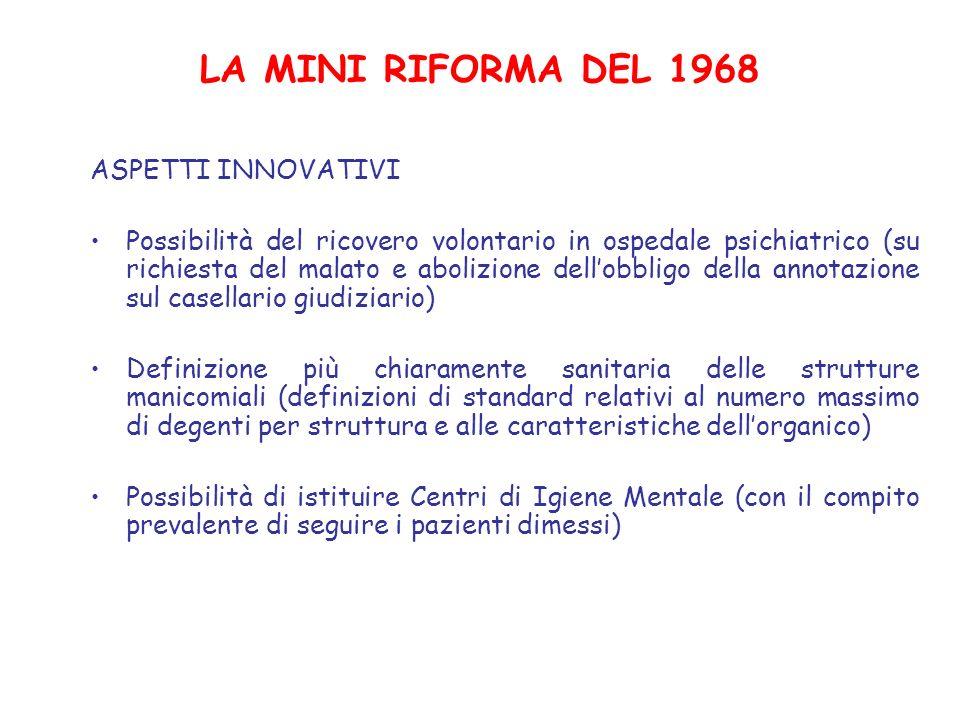 LA MINI RIFORMA DEL 1968 ASPETTI INNOVATIVI