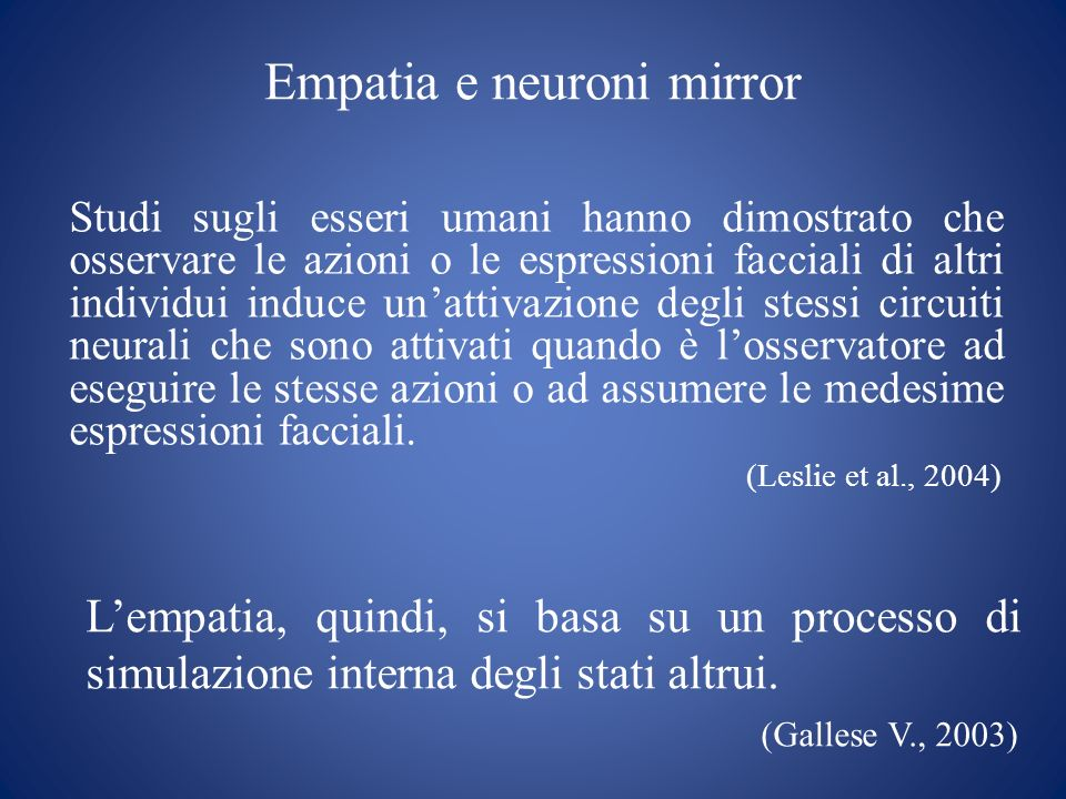 Empatia e neuroni mirror