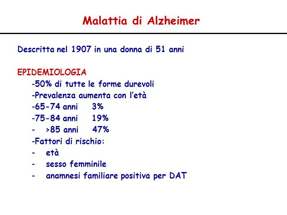 Malattia di Alzheimer Descritta nel 1907 in una donna di 51 anni