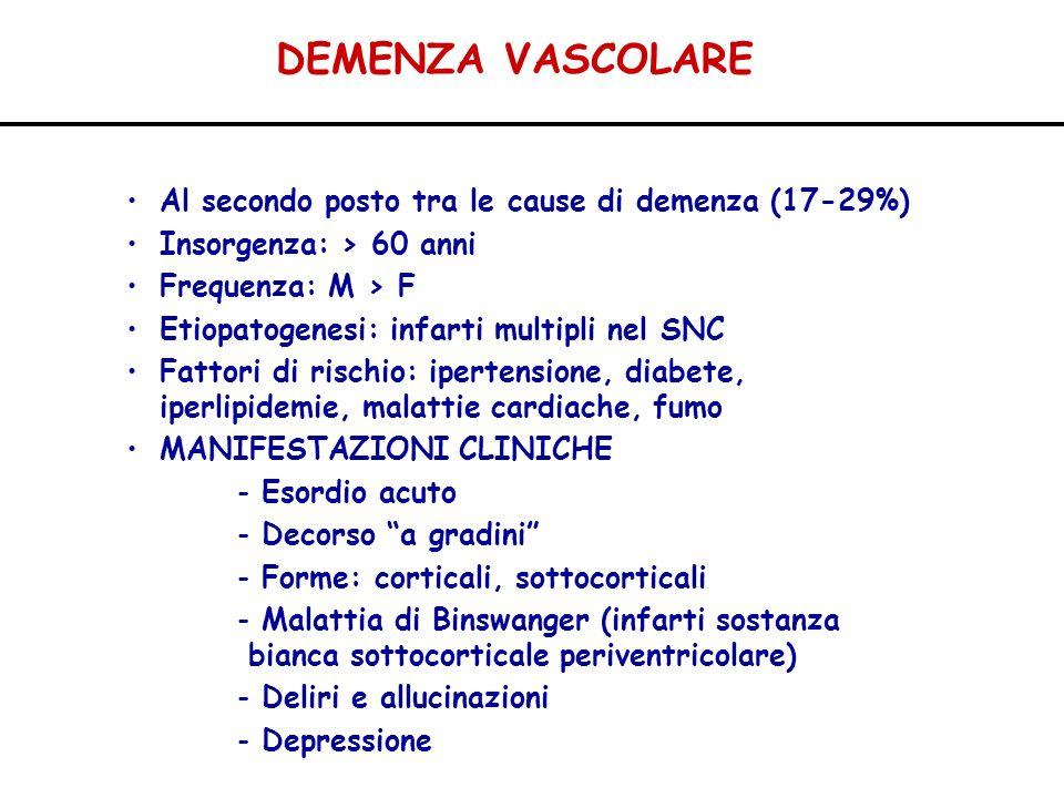 DEMENZA VASCOLARE Al secondo posto tra le cause di demenza (17-29%)