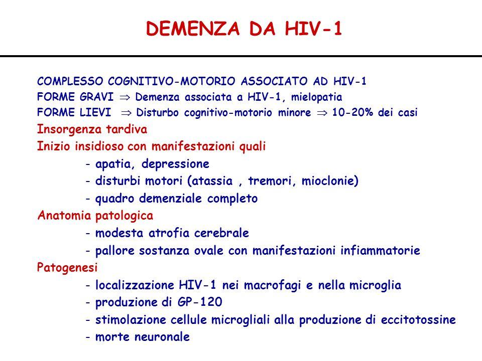DEMENZA DA HIV-1 Insorgenza tardiva