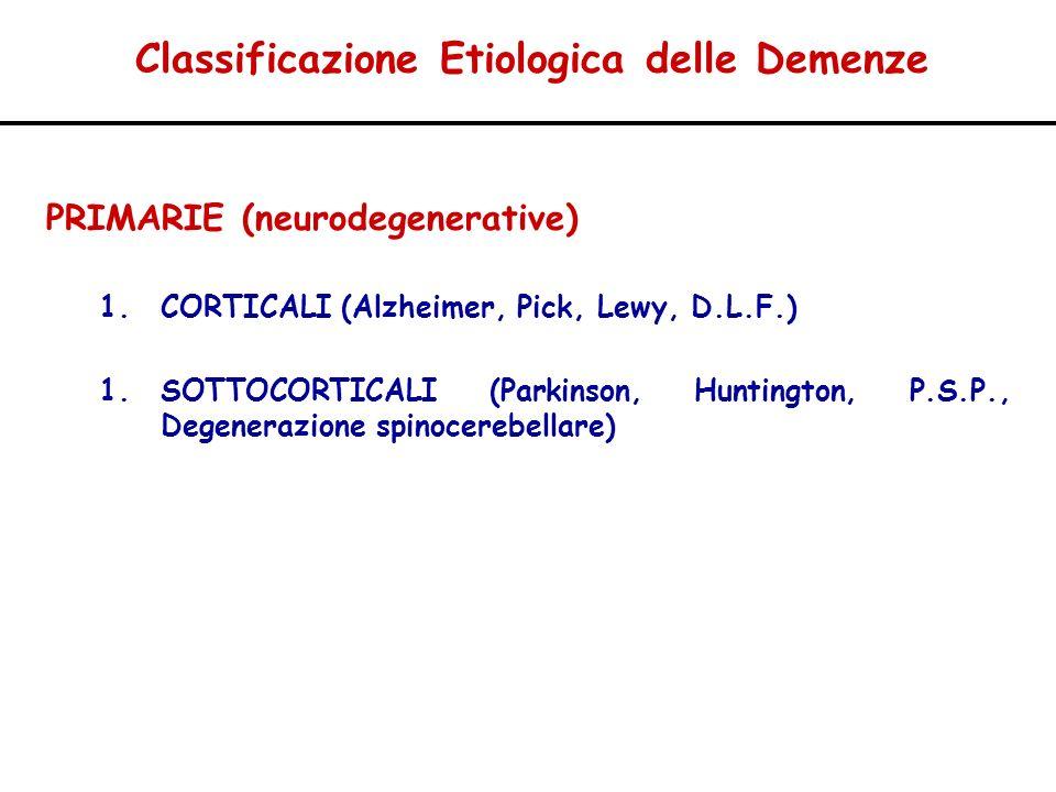 Classificazione Etiologica delle Demenze