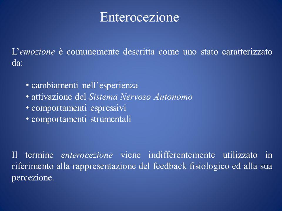 Enterocezione L'emozione è comunemente descritta come uno stato caratterizzato da: cambiamenti nell'esperienza.