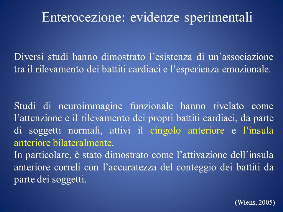 Enterocezione: evidenze sperimentali