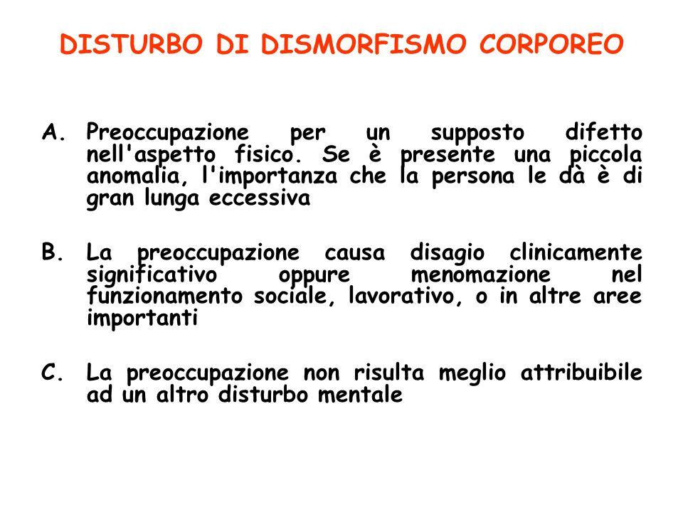 DISTURBO DI DISMORFISMO CORPOREO