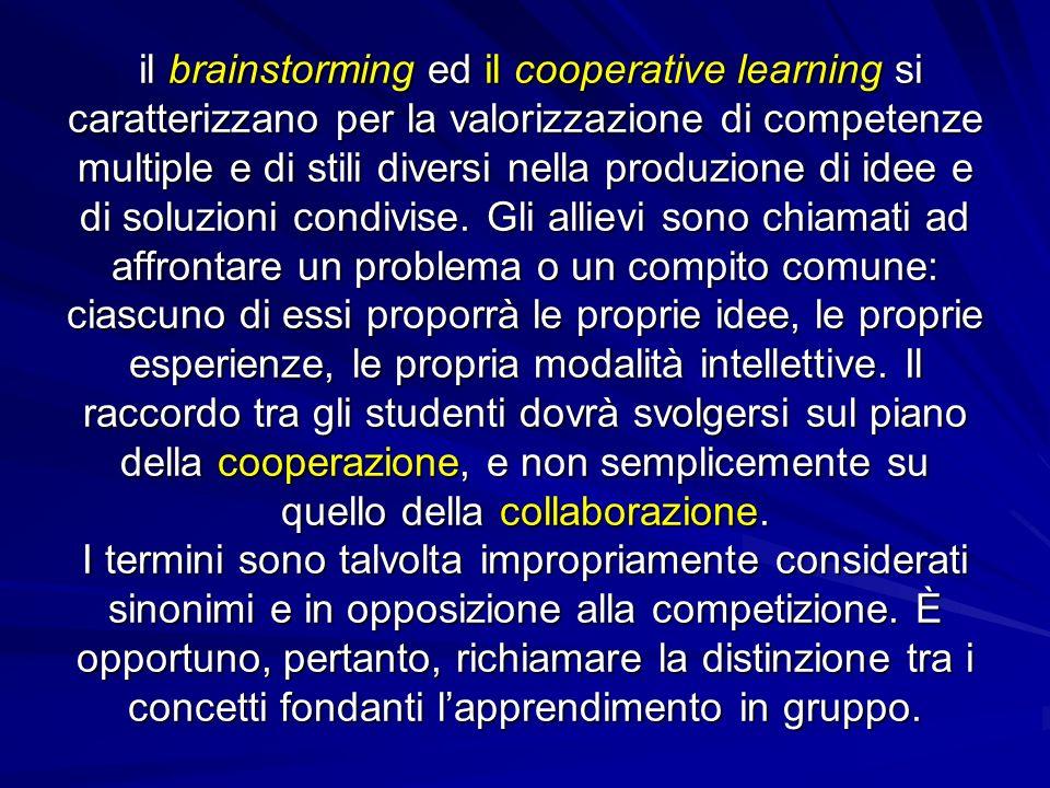 il brainstorming ed il cooperative learning si caratterizzano per la valorizzazione di competenze multiple e di stili diversi nella produzione di idee e di soluzioni condivise.