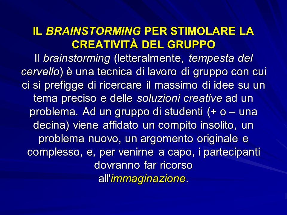 IL BRAINSTORMING PER STIMOLARE LA CREATIVITÀ DEL GRUPPO Il brainstorming (letteralmente, tempesta del cervello) è una tecnica di lavoro di gruppo con cui ci si prefigge di ricercare il massimo di idee su un tema preciso e delle soluzioni creative ad un problema.