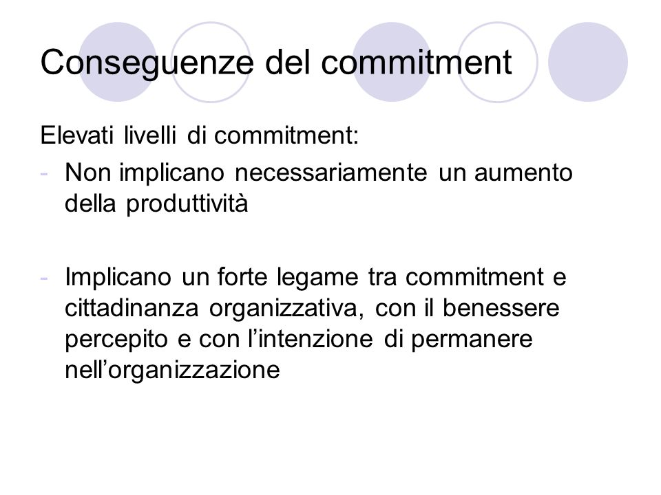 Conseguenze del commitment
