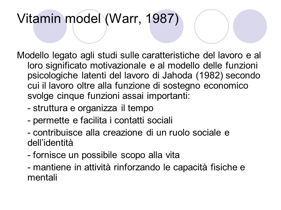 Vitamin model (Warr, 1987)