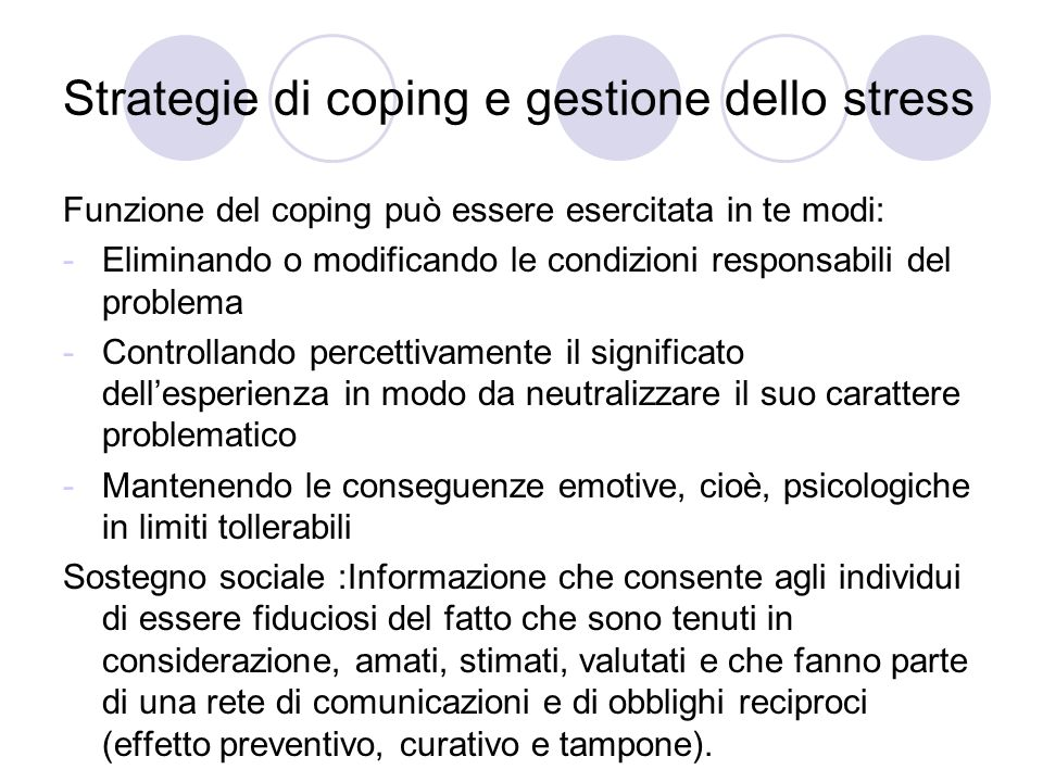 Strategie di coping e gestione dello stress