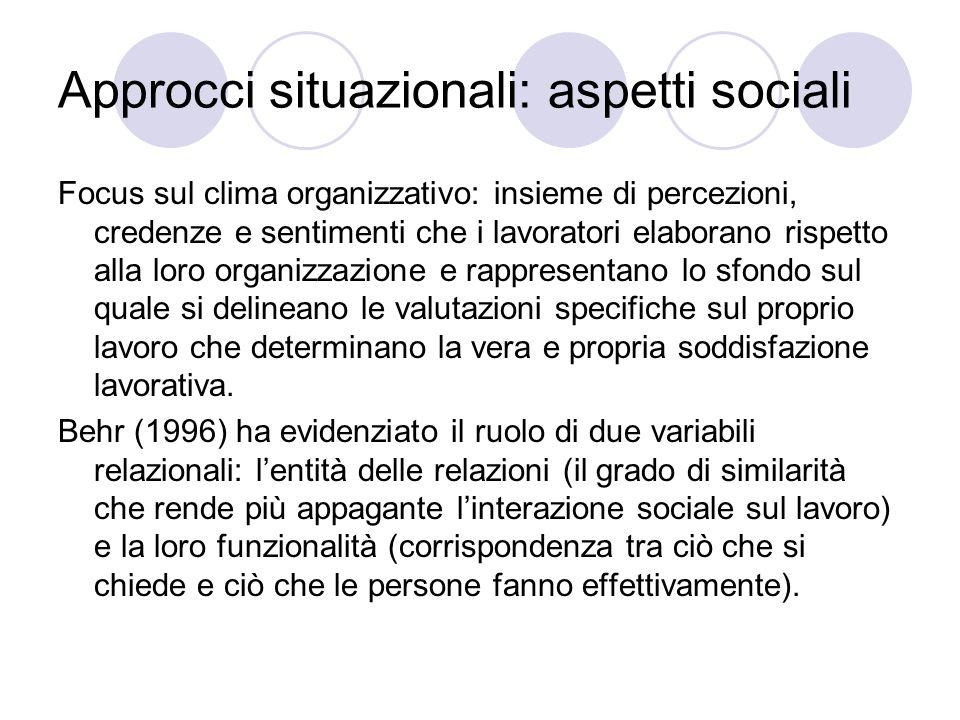 Approcci situazionali: aspetti sociali