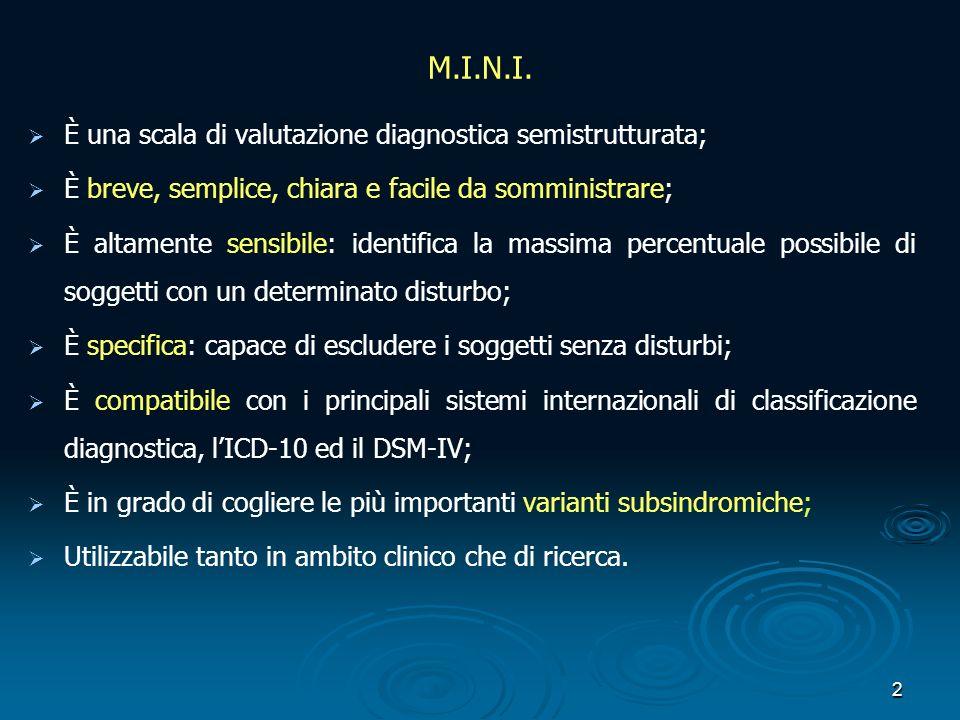 M.I.N.I. È una scala di valutazione diagnostica semistrutturata;