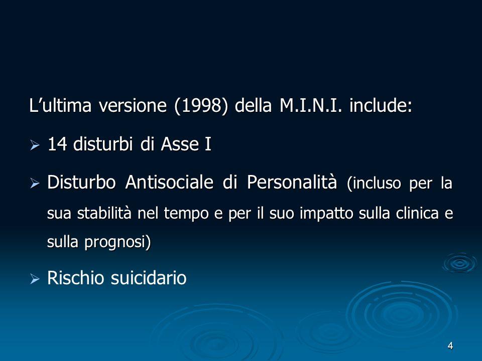 L'ultima versione (1998) della M.I.N.I. include:
