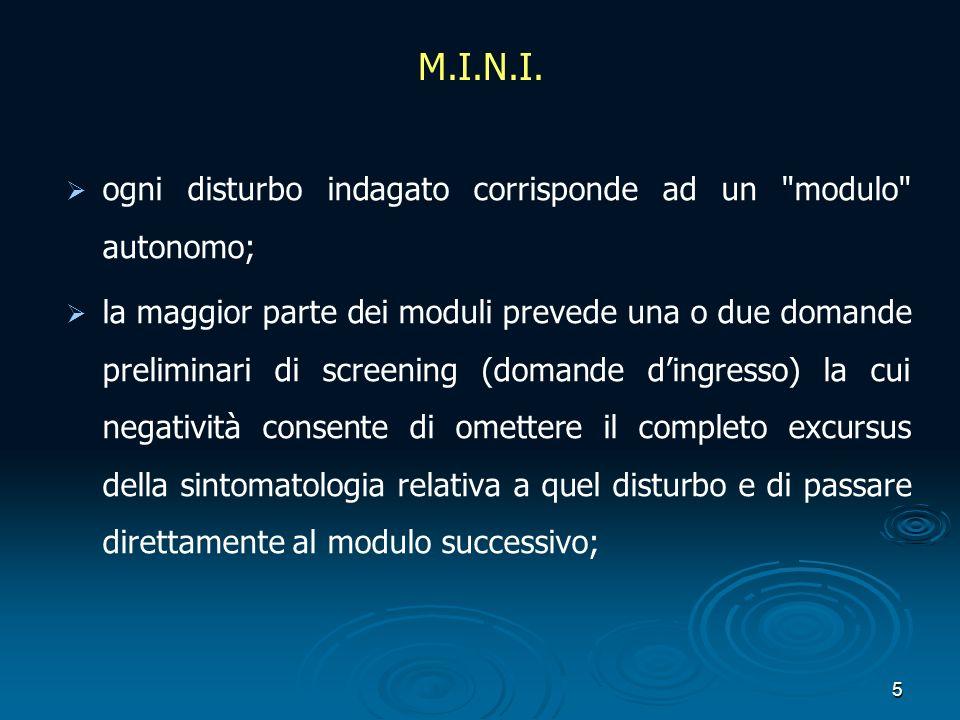 M.I.N.I. ogni disturbo indagato corrisponde ad un modulo autonomo;