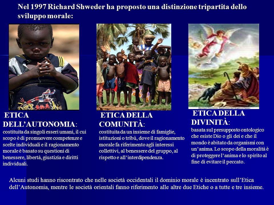 Nel 1997 Richard Shweder ha proposto una distinzione tripartita dello sviluppo morale: