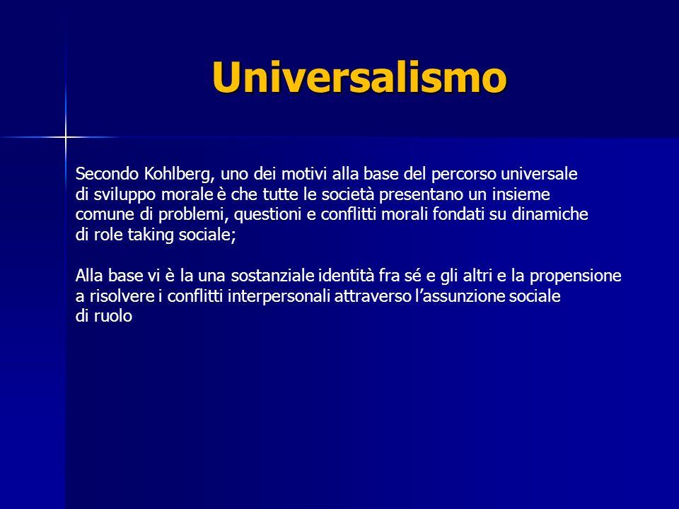 Universalismo Secondo Kohlberg, uno dei motivi alla base del percorso universale. di sviluppo morale è che tutte le società presentano un insieme.