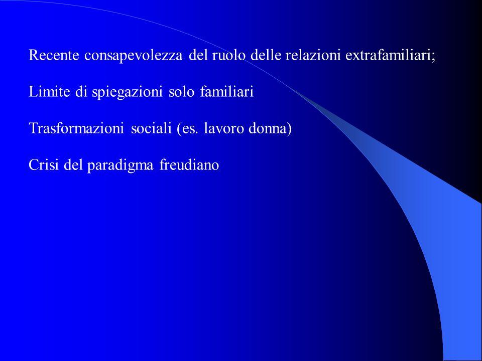 Recente consapevolezza del ruolo delle relazioni extrafamiliari;