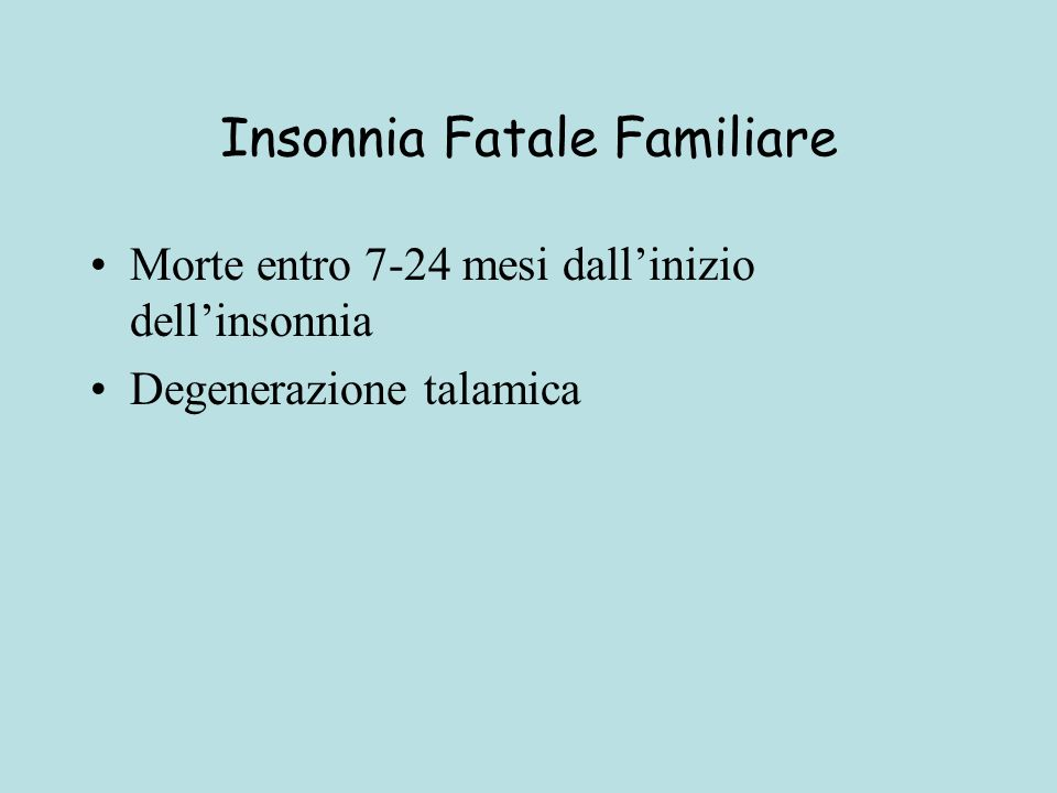 Insonnia Fatale Familiare