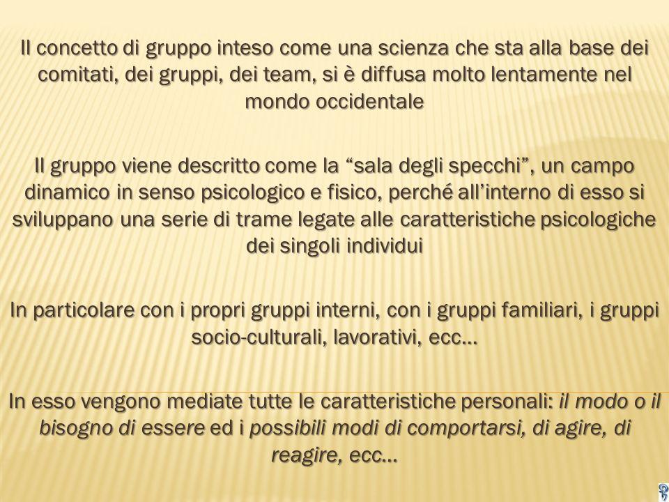 Il concetto di gruppo inteso come una scienza che sta alla base dei comitati, dei gruppi, dei team, si è diffusa molto lentamente nel mondo occidentale