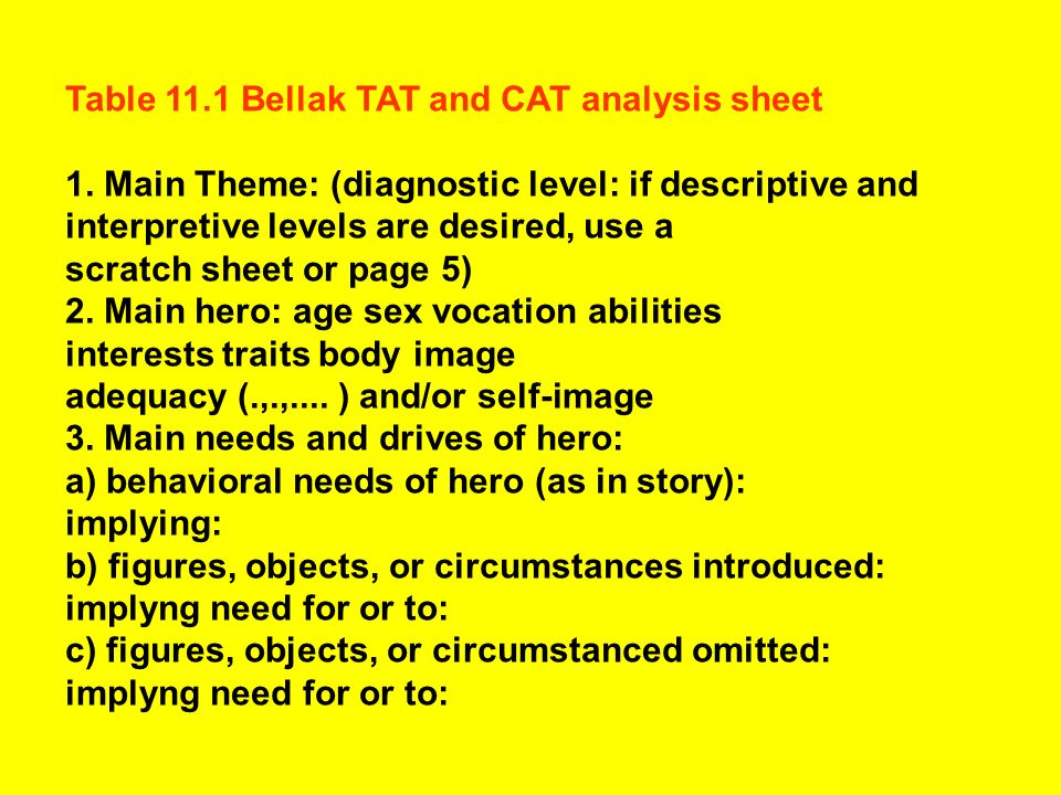 Table 11.1 Bellak TAT and CAT analysis sheet