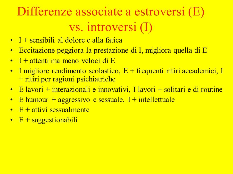 Differenze associate a estroversi (E) vs. introversi (I)