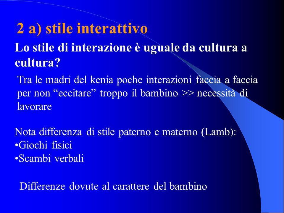 2 a) stile interattivo Lo stile di interazione è uguale da cultura a cultura