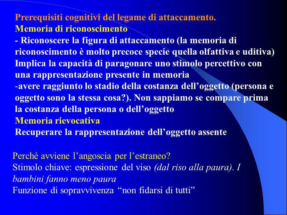 Prerequisiti cognitivi del legame di attaccamento.