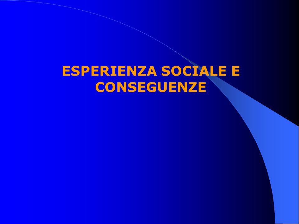 ESPERIENZA SOCIALE E CONSEGUENZE