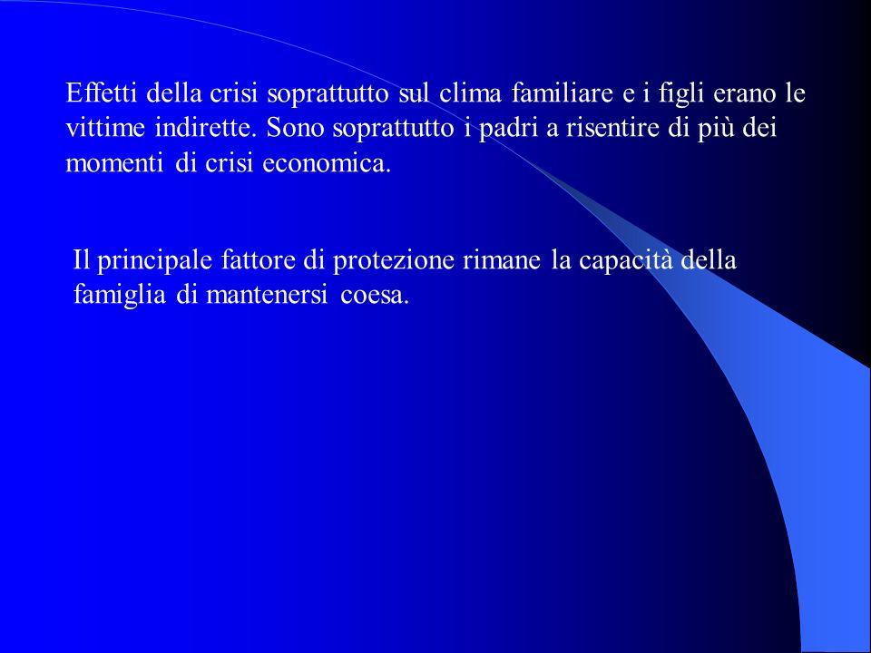 Effetti della crisi soprattutto sul clima familiare e i figli erano le vittime indirette. Sono soprattutto i padri a risentire di più dei momenti di crisi economica.