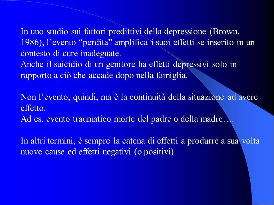 In uno studio sui fattori predittivi della depressione (Brown, 1986), l'evento perdita amplifica i suoi effetti se inserito in un contesto di cure inadeguate.