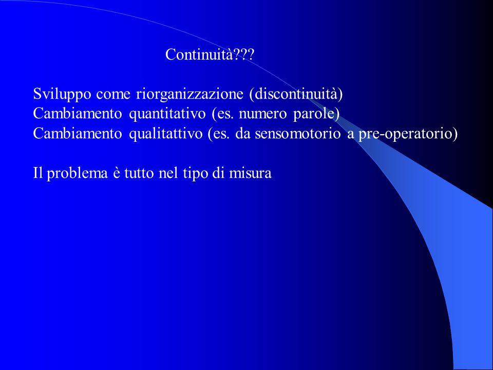Continuità Sviluppo come riorganizzazione (discontinuità) Cambiamento quantitativo (es. numero parole)
