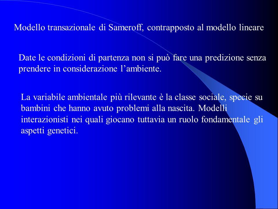 Modello transazionale di Sameroff, contrapposto al modello lineare