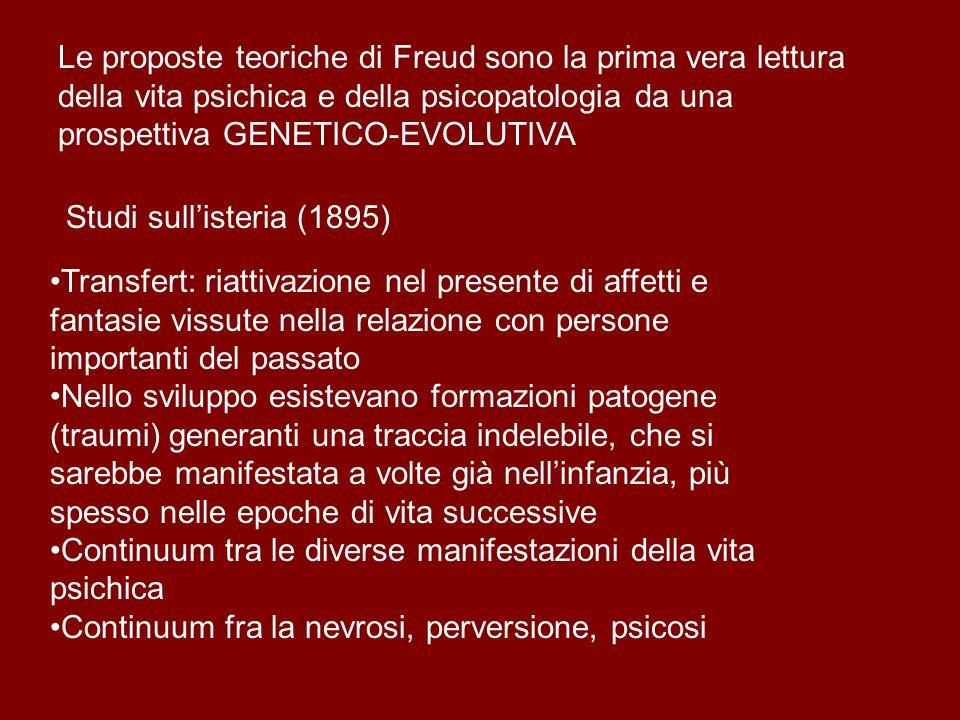 Le proposte teoriche di Freud sono la prima vera lettura della vita psichica e della psicopatologia da una prospettiva GENETICO-EVOLUTIVA