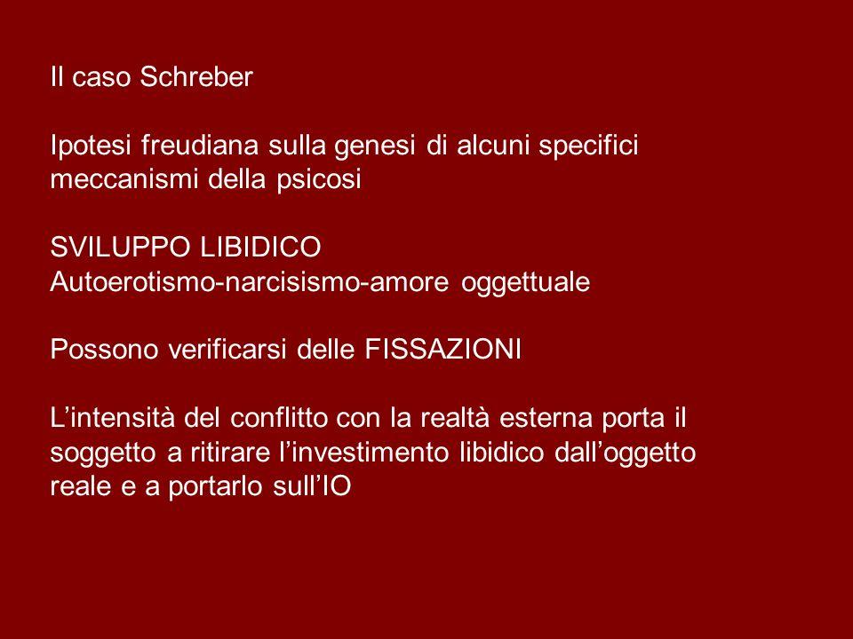 Il caso Schreber Ipotesi freudiana sulla genesi di alcuni specifici meccanismi della psicosi. SVILUPPO LIBIDICO.