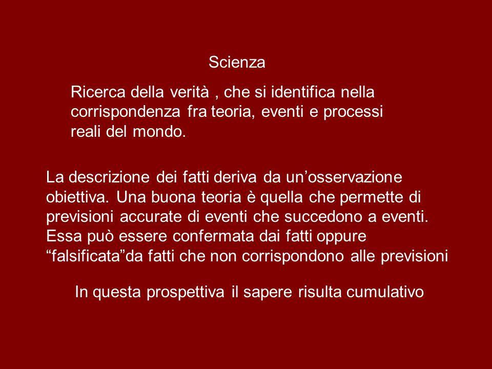 Scienza Ricerca della verità , che si identifica nella corrispondenza fra teoria, eventi e processi reali del mondo.