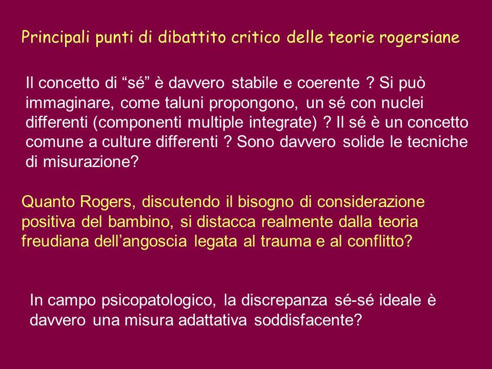 Principali punti di dibattito critico delle teorie rogersiane