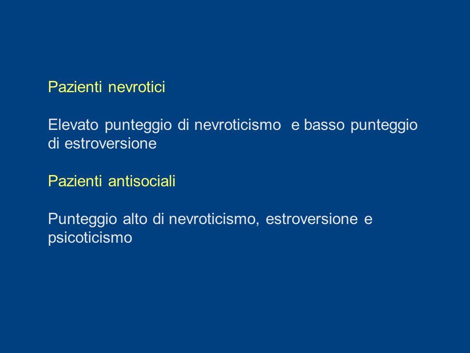 Pazienti nevrotici Elevato punteggio di nevroticismo e basso punteggio di estroversione. Pazienti antisociali.