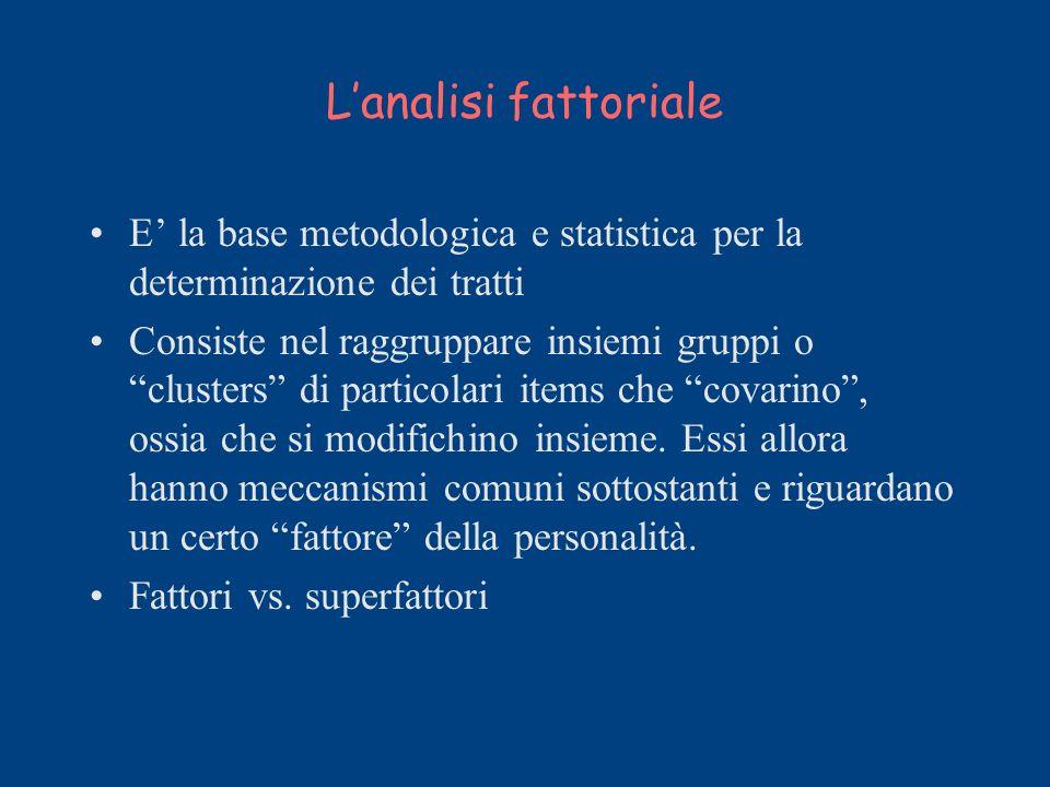L'analisi fattoriale E' la base metodologica e statistica per la determinazione dei tratti.