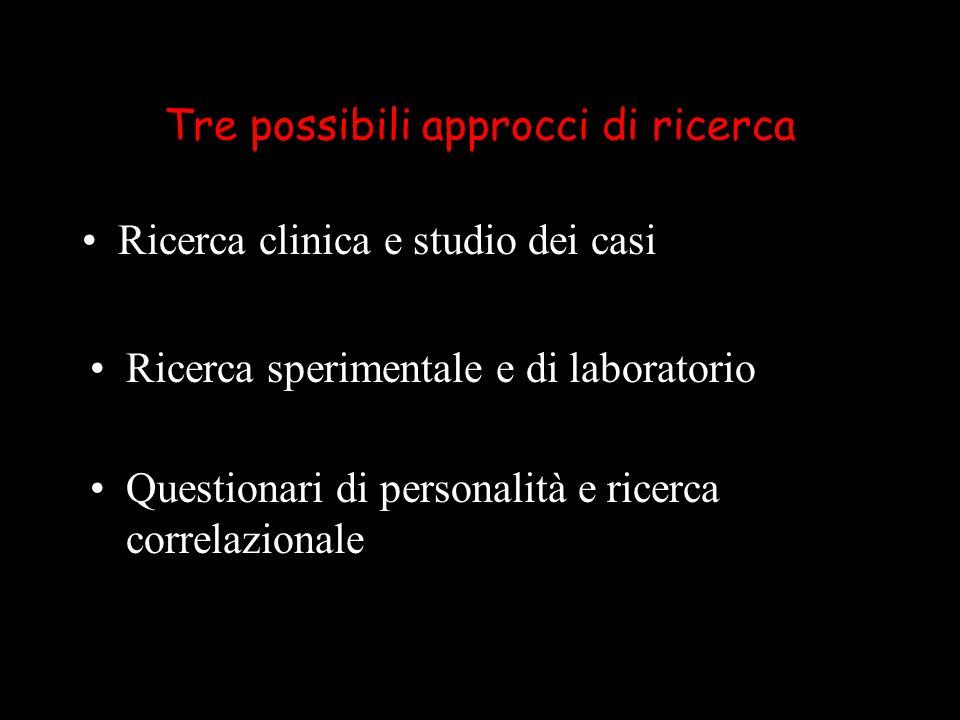 Tre possibili approcci di ricerca