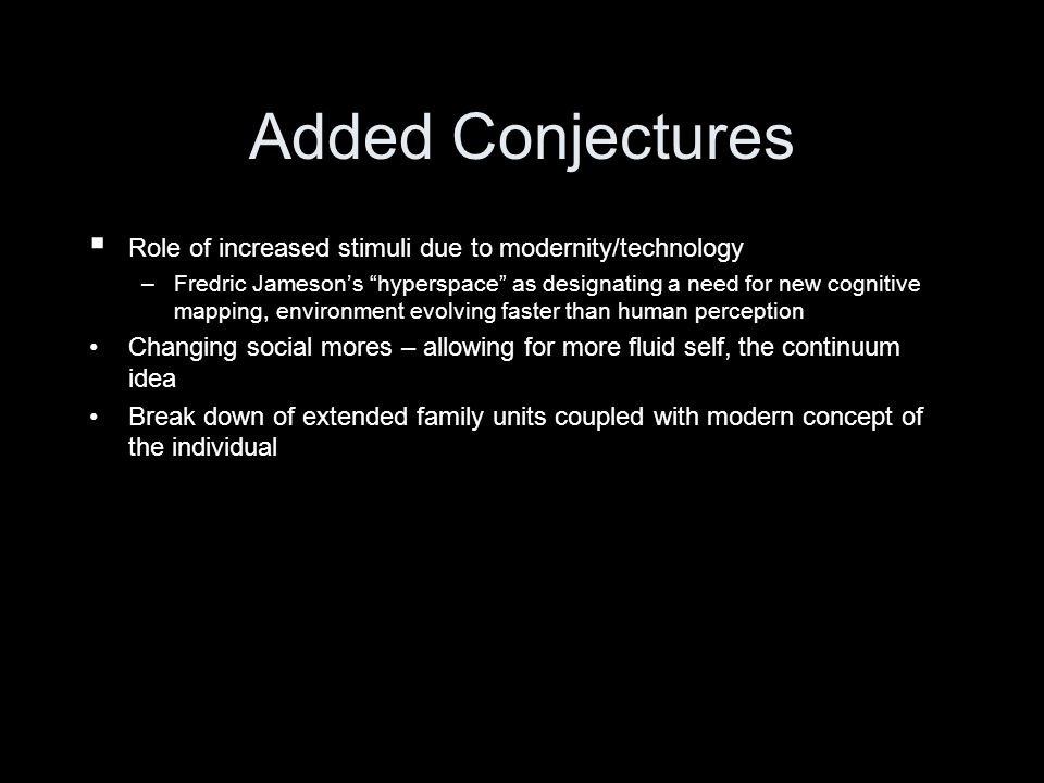 Added ConjecturesRole of increased stimuli due to modernity/technology.