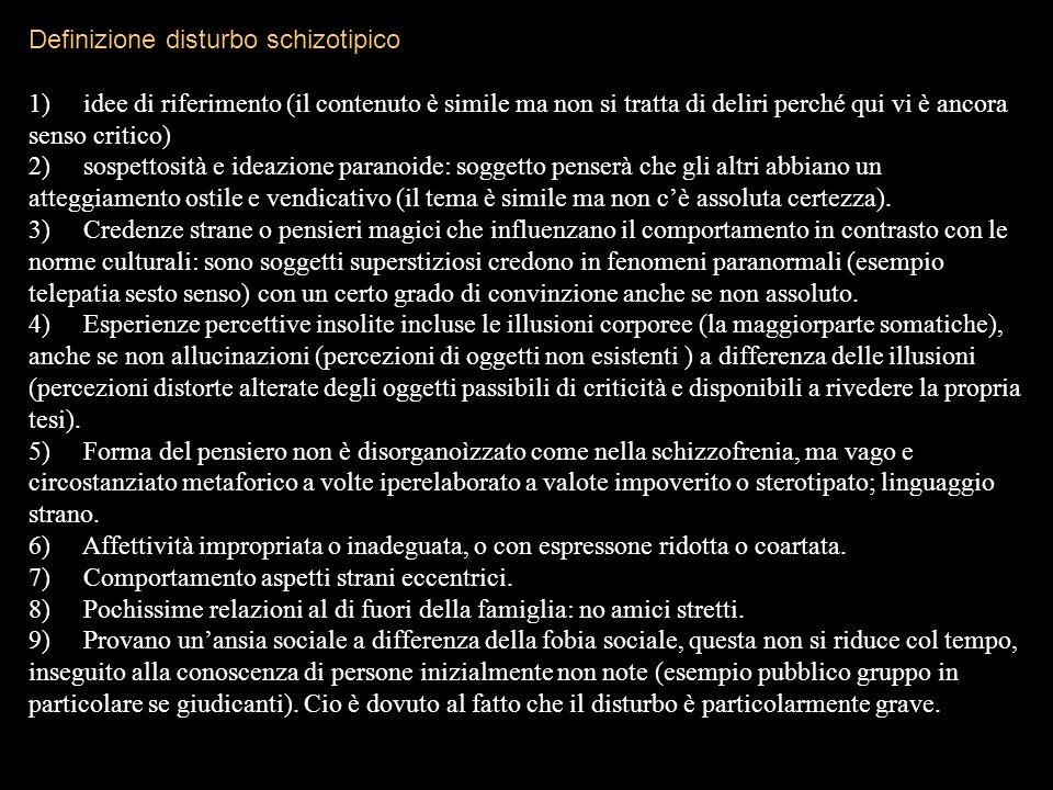 Definizione disturbo schizotipico