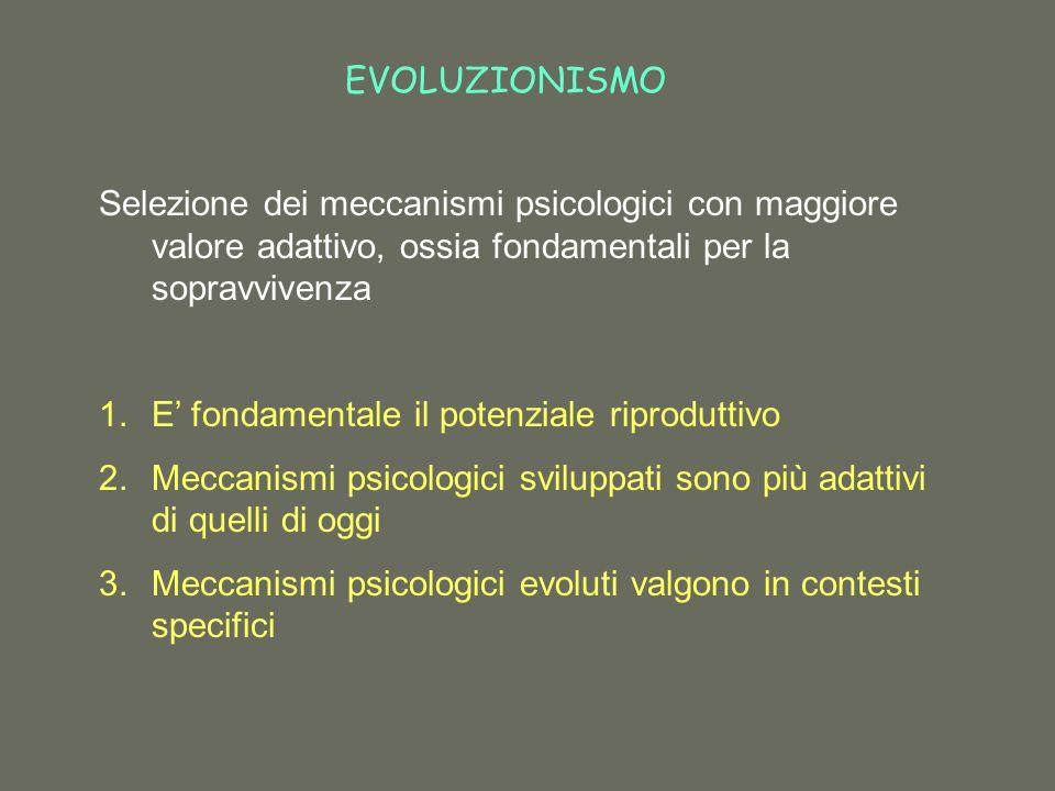 EVOLUZIONISMO Selezione dei meccanismi psicologici con maggiore valore adattivo, ossia fondamentali per la sopravvivenza.