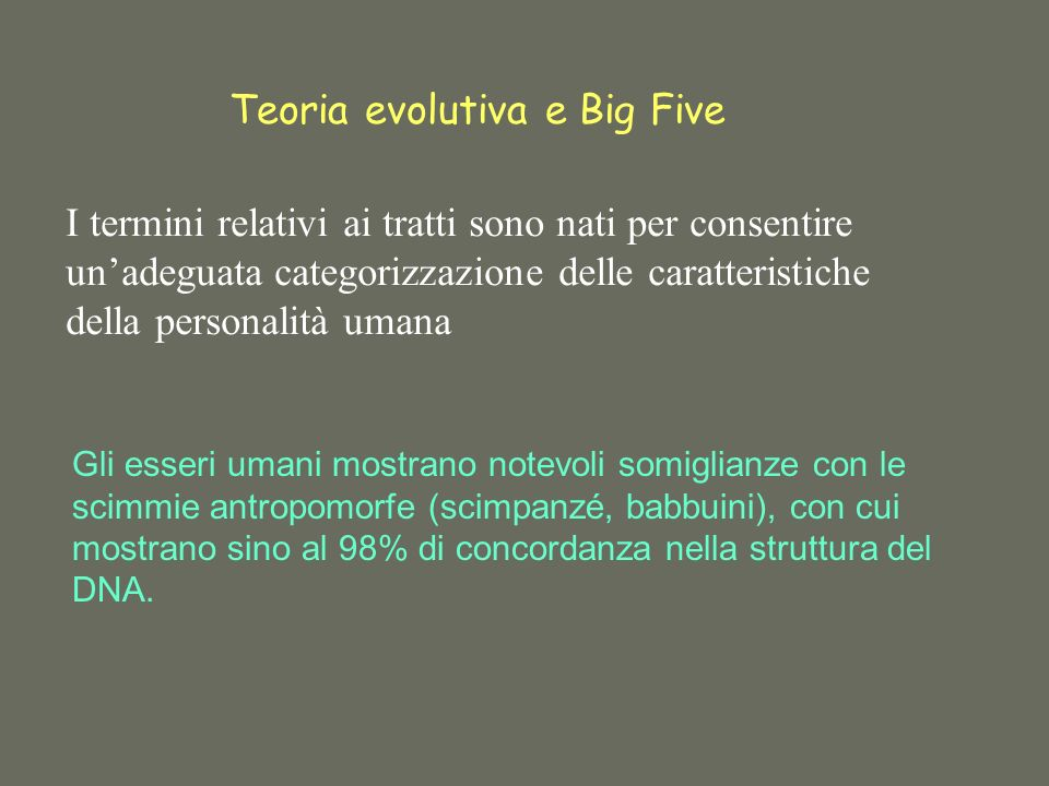 Teoria evolutiva e Big Five