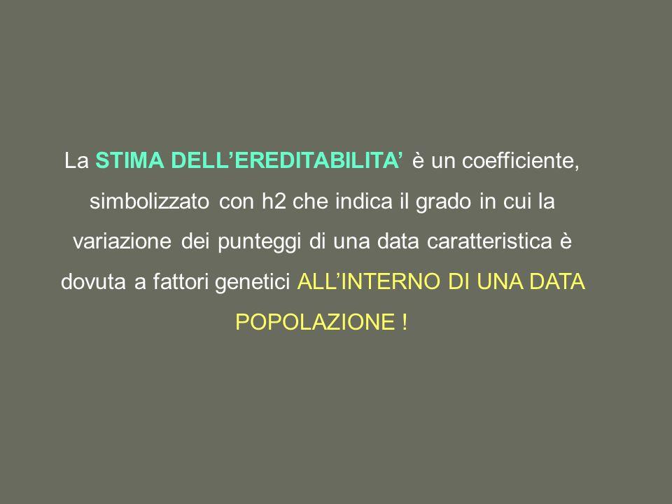 La STIMA DELL'EREDITABILITA' è un coefficiente, simbolizzato con h2 che indica il grado in cui la variazione dei punteggi di una data caratteristica è dovuta a fattori genetici ALL'INTERNO DI UNA DATA POPOLAZIONE !