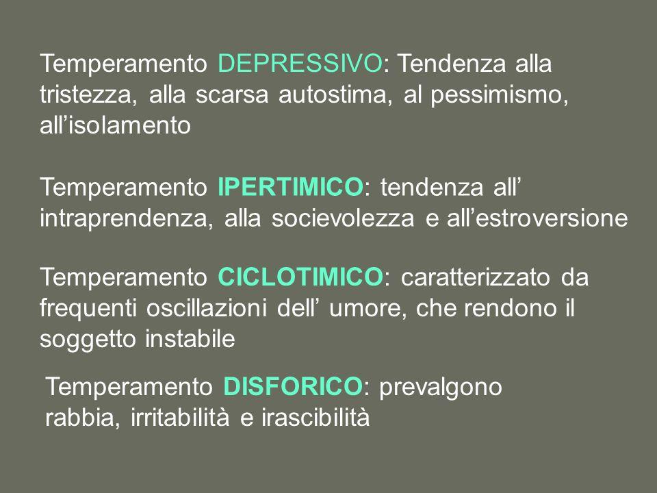 Temperamento DEPRESSIVO: Tendenza alla tristezza, alla scarsa autostima, al pessimismo, all'isolamento